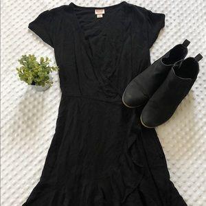 Mossimo Black Ruffled Wrap Dress